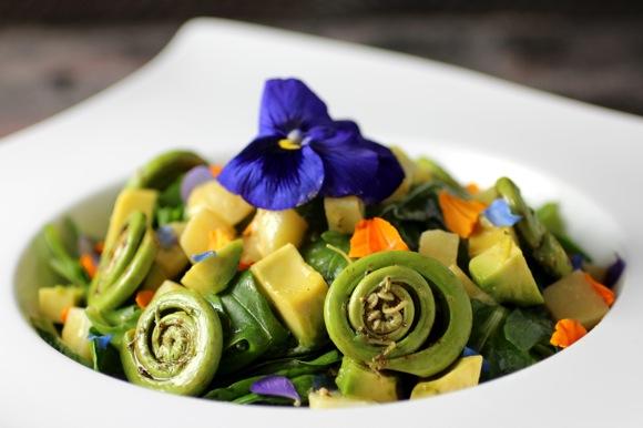 fiddlehead salad, pansy salad