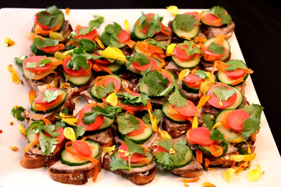colorful appetizer, banh mi appetizer, canape
