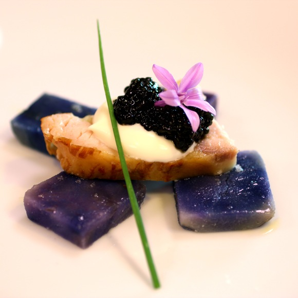 smoked sturgeon, purple potato, caviar