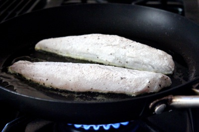 how to pan-sear branzino, loupe de mer