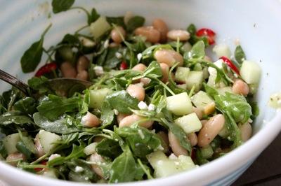 cucumber arugula salad, feta, cannellini beans