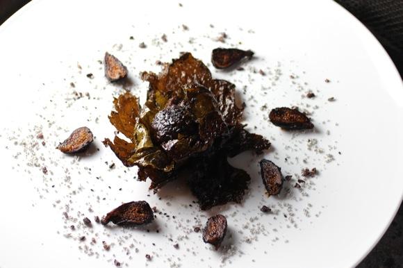 black course, short rib in grape leaf, mole