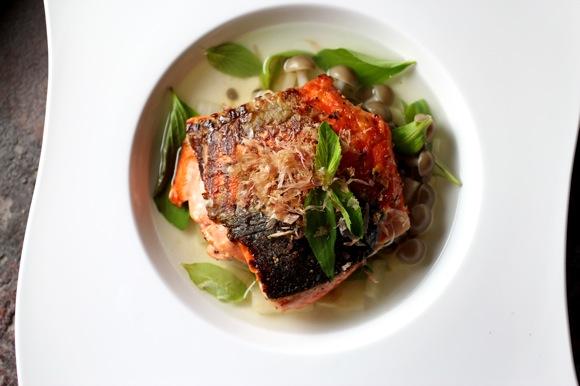 salmon dashi daikon buna shimeji