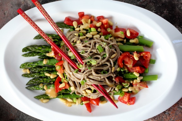 asparagus and buckwheat noodles, ginger sauce