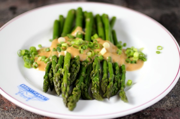 ginger sauce for vegetables and noodles, miso asparagus, spring asparagus