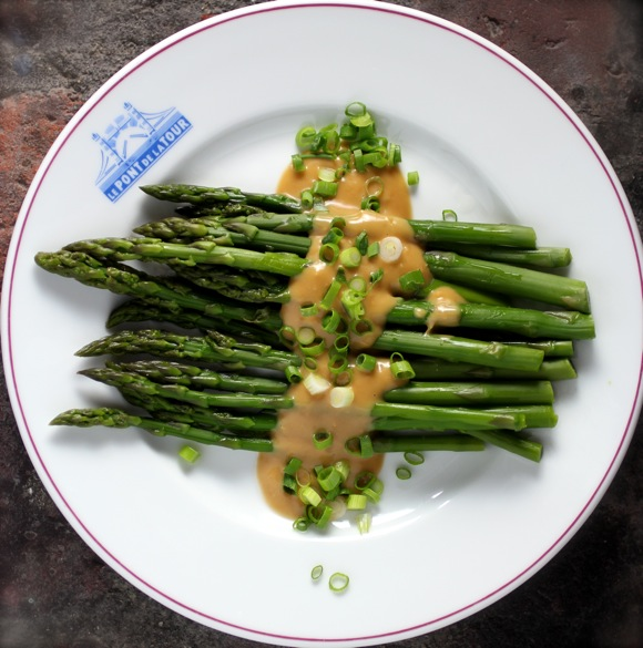 miso braised asparagus, ginger sauce