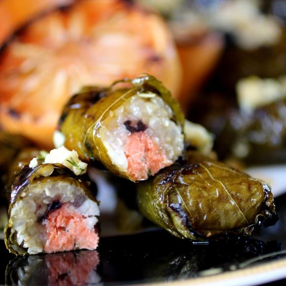 salmon feta olive dolmades