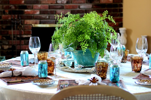 La Croix Water, cans table setting turquoise