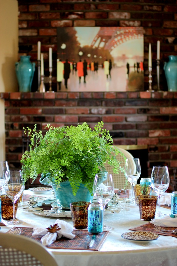 turquoise blue table setting