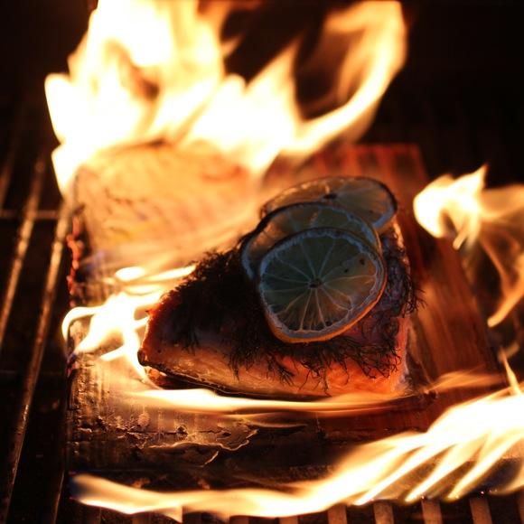 cedar plank on fire