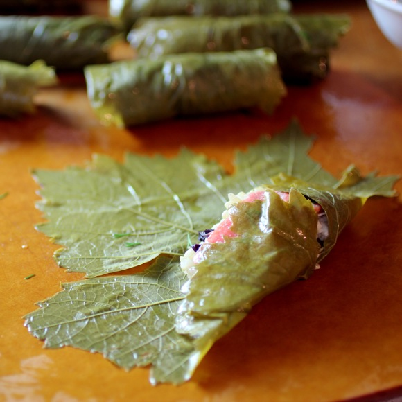 how to roll dolmades