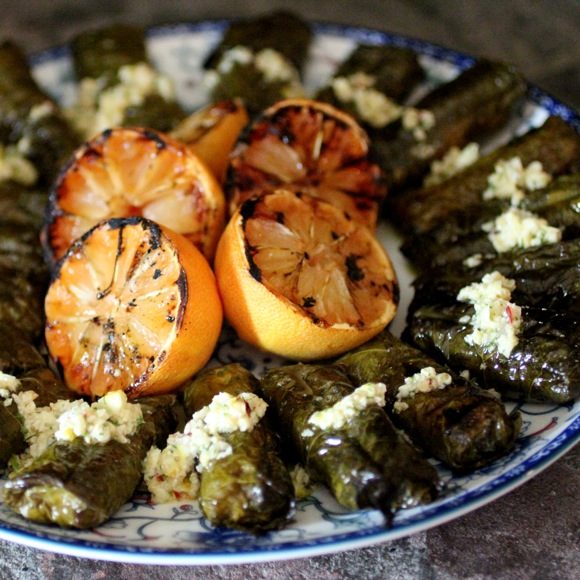 grilled dolmades, grilled lemon, greek