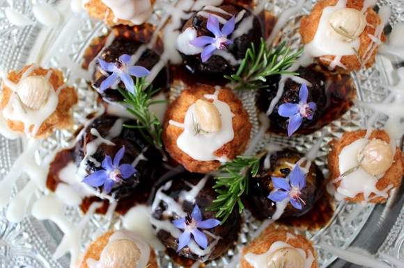 sweet bites for high tea, borage blossom