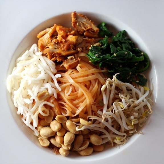 thai noodles, bibimbap-style