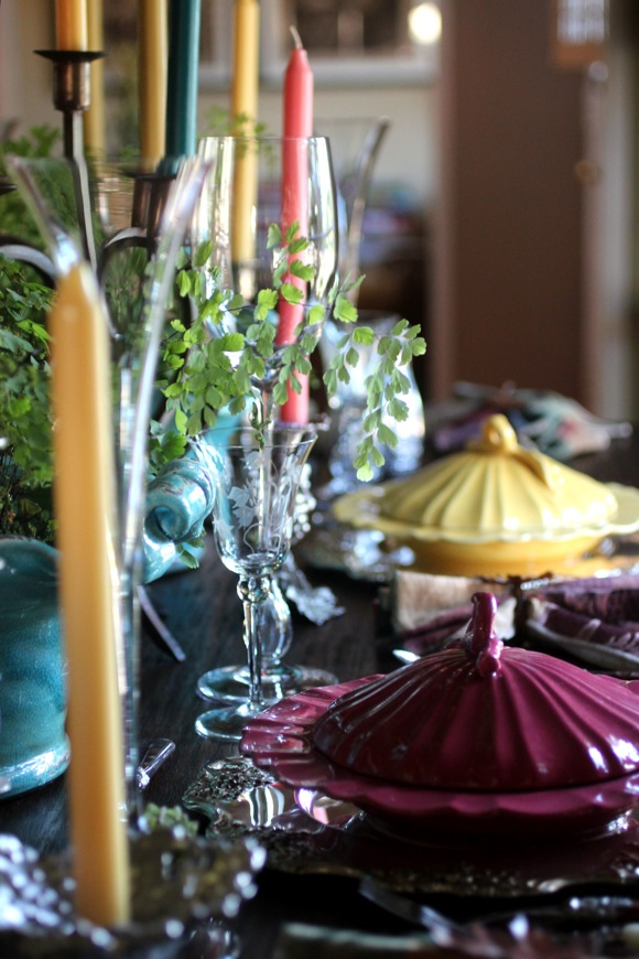 white point home tour , colorful table setting