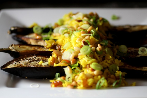 saffron rice, cardamom eggplant 