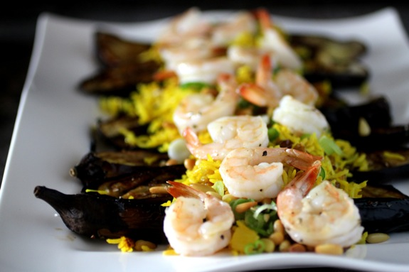 saffron rice, cardamom eggplant with shrimp