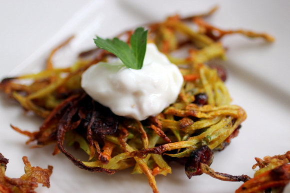 broccoli latkes, preserved lemon sour cream