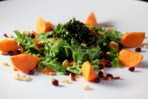New Korean Salad: Chrysanthemum Greens, Chestnut, Persimmon