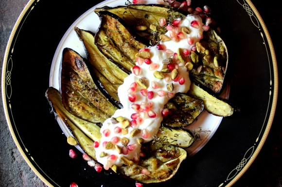 roasted japanese eggplant with pomegranate, pistachio, garlicky cream sauce