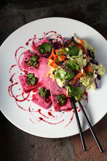 Pickled Tofu Carpaccio, Beet Syrup, Asian Slaw