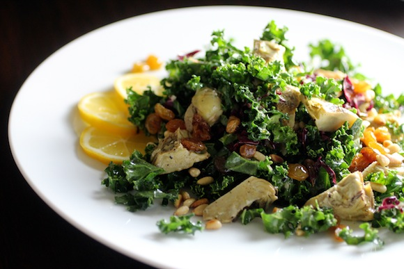 kale salad, grilled artichokes, wolfgang puck oscar salad