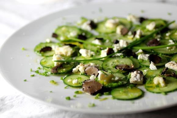 bucheron, truffle carpaccio, cucumber salad
