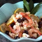 shrimp & feta salad, lemon, kalamata olives