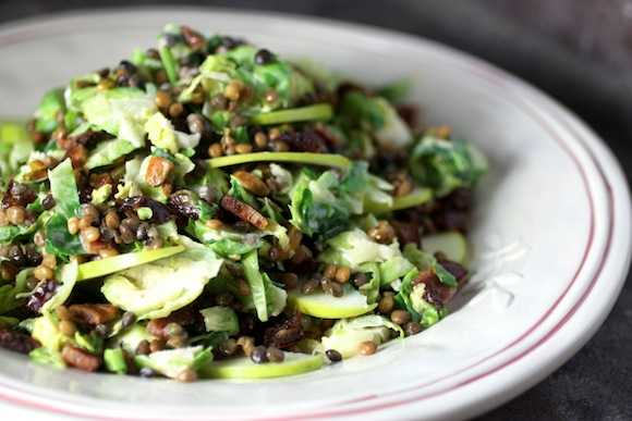 brussels sprouts lentil chopped salad, tahini dressing