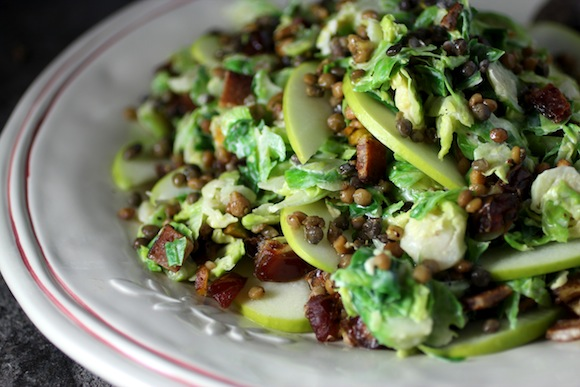 brussels sprout lentil salad, tahini vinaigrette