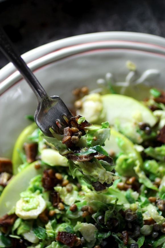 brussels sprouts lentil chopped salad tahini apple dressing