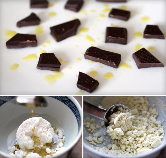 molecular mignardises chocolate olive oli powder