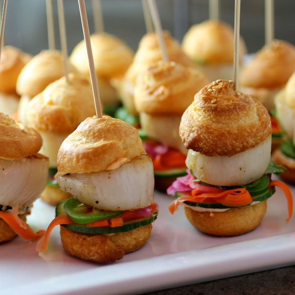 scallop sliders, bahn mi sliders