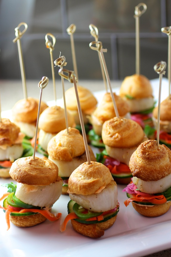 scallop sliders, banh mi