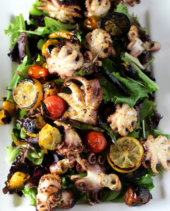 Charred Baby Octopus Salad Taste With The Eyes