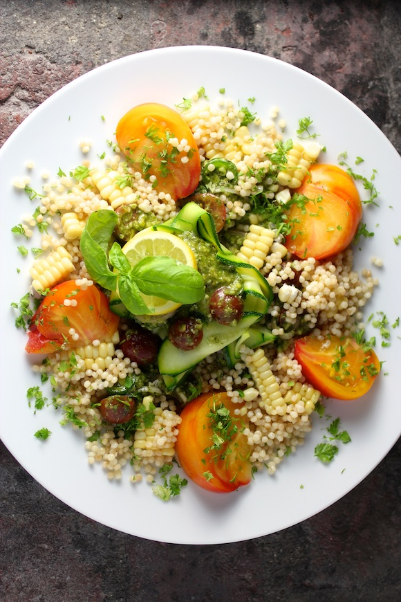 summer salad, corn, tomato couscous, basil lemon dressing