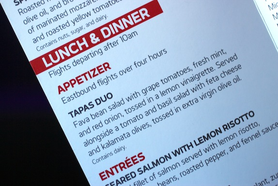 virgin america menu