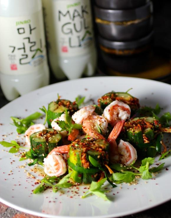 cucumber kimchi and makkoli