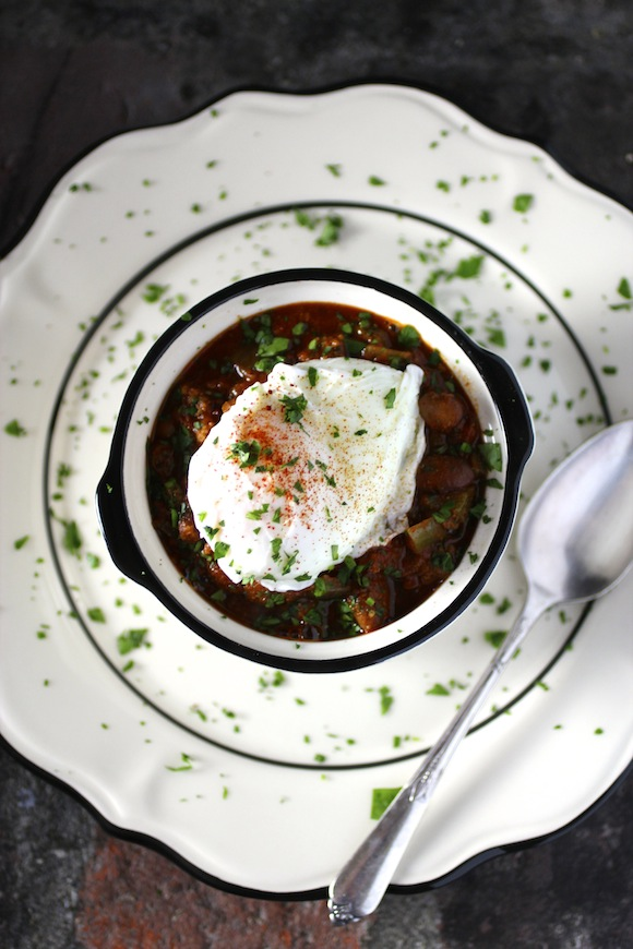 Bison & Heirloom Bean Chili with Poached Egg