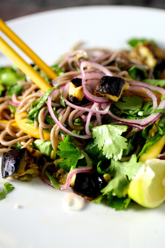cold soba noodles with eggplant and mango