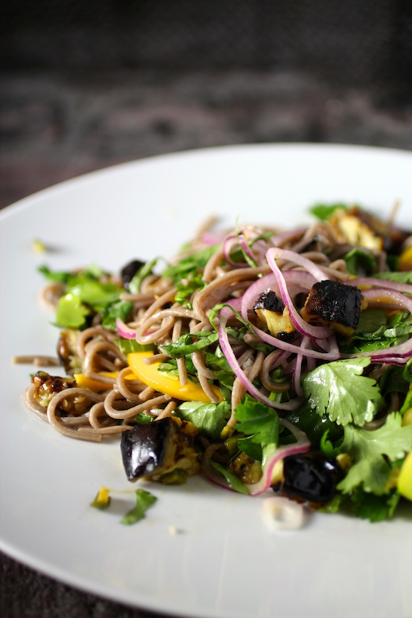 cold soba noodles with eggplant and mango - Taste With The Eyes