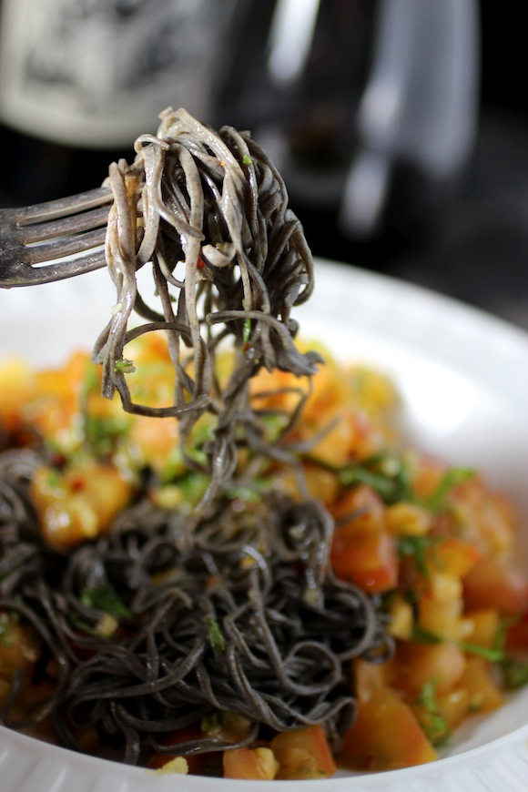 black bean spaghetti, heirloom tomato, garlic, basil