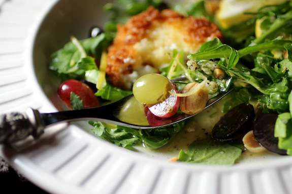 Chèvre Chaud with Grape Arugula Salad, Limoncello Dressing