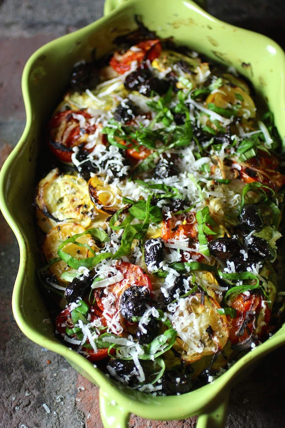Vegetable Casserole with Fresh Herbs, Lemons and Dry-Cured Black Olives