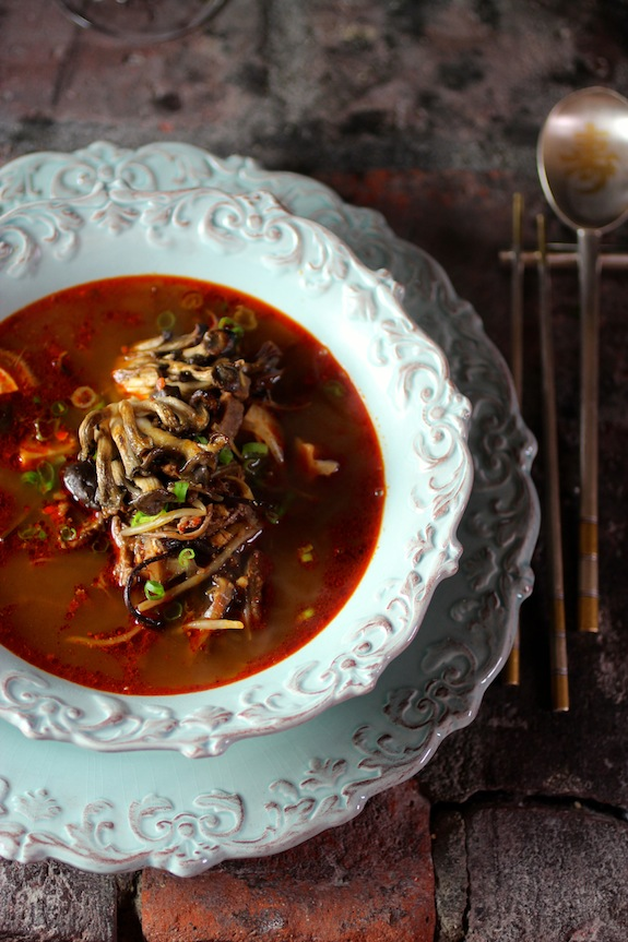 Spicy Korean Beef Soup with Smoky Baby Oyster Mushrooms {Yukgaejang}