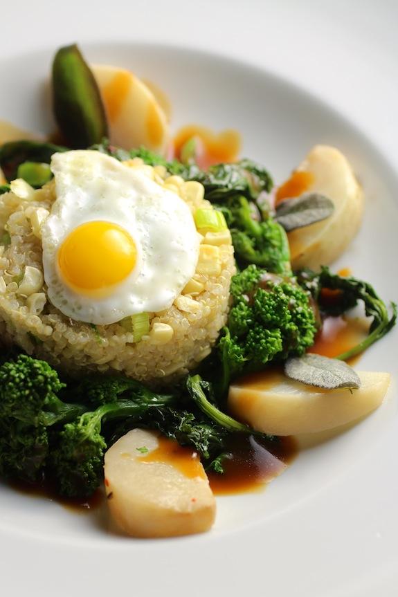 Quinoa Corn Timbale, Turnip Confit, Broccoli Rabe, Shiitake, Fried Sage, Demi-Glace