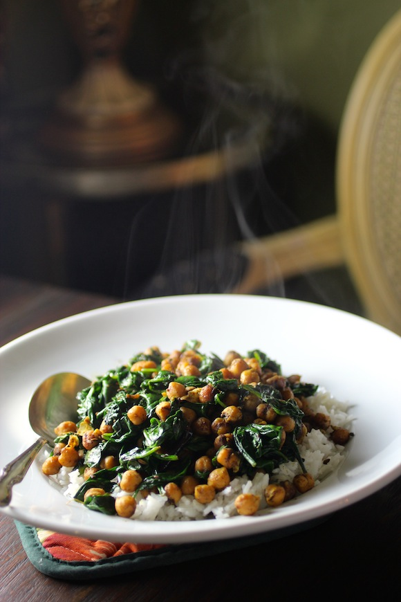 Spinach & Chickpeas in a Bengali Mustard Sauce