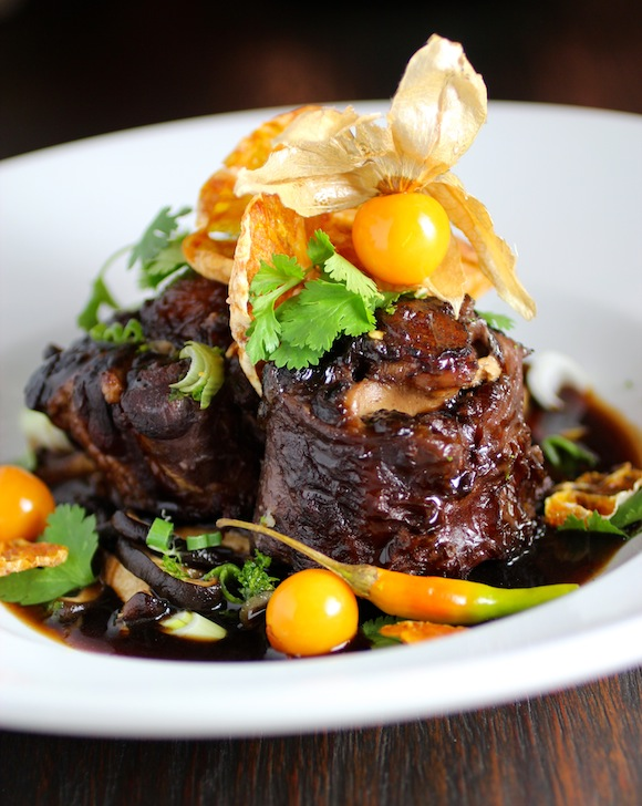 braised oxtail with korean jeju mandarin orange, yuzu, and gooseberry