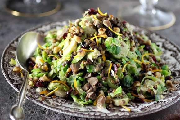 Cal-Style Brussels Sprouts Salad with Fruit and Nuts