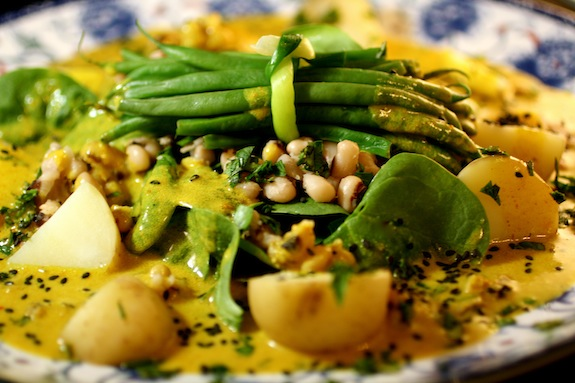 Black-Eyed Peas with Haricots Verts Baby Spinach and Baby White Potatoes Spicy Curry Emulsion